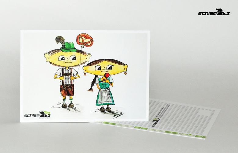 Postkarte A6 – Maxl und Franzi: Auf da Wiesn