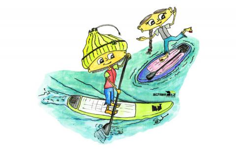 Maxl und Franzi: Beim Stand up paddeln