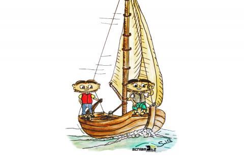 Maxl und Franzi: Beim segeln