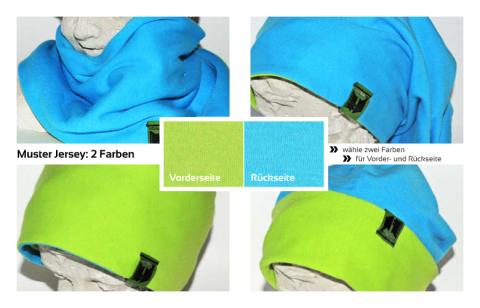 Muster Jersey schlamuetz mit 2 Farben für Vorder- und Rückseite